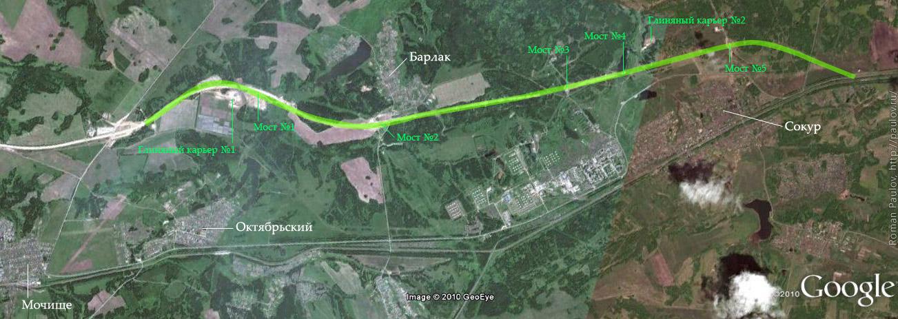 Строительство северного обхода Новосибирска от Мочища до Сокура Карта
