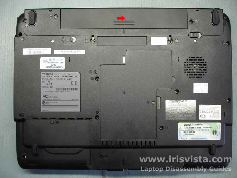 Как разобрать ноутбук Toshiba Satellite A105 (2)