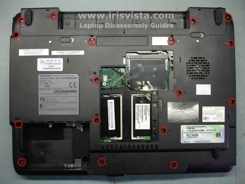 Как разобрать ноутбук Toshiba Satellite A105 (9)