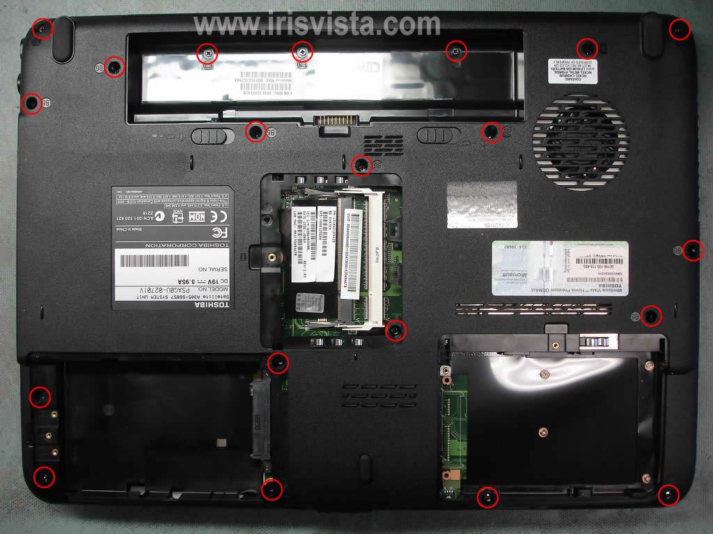 Как разобрать ноутбук A305/A305D или Satellite A300/A300D (16)