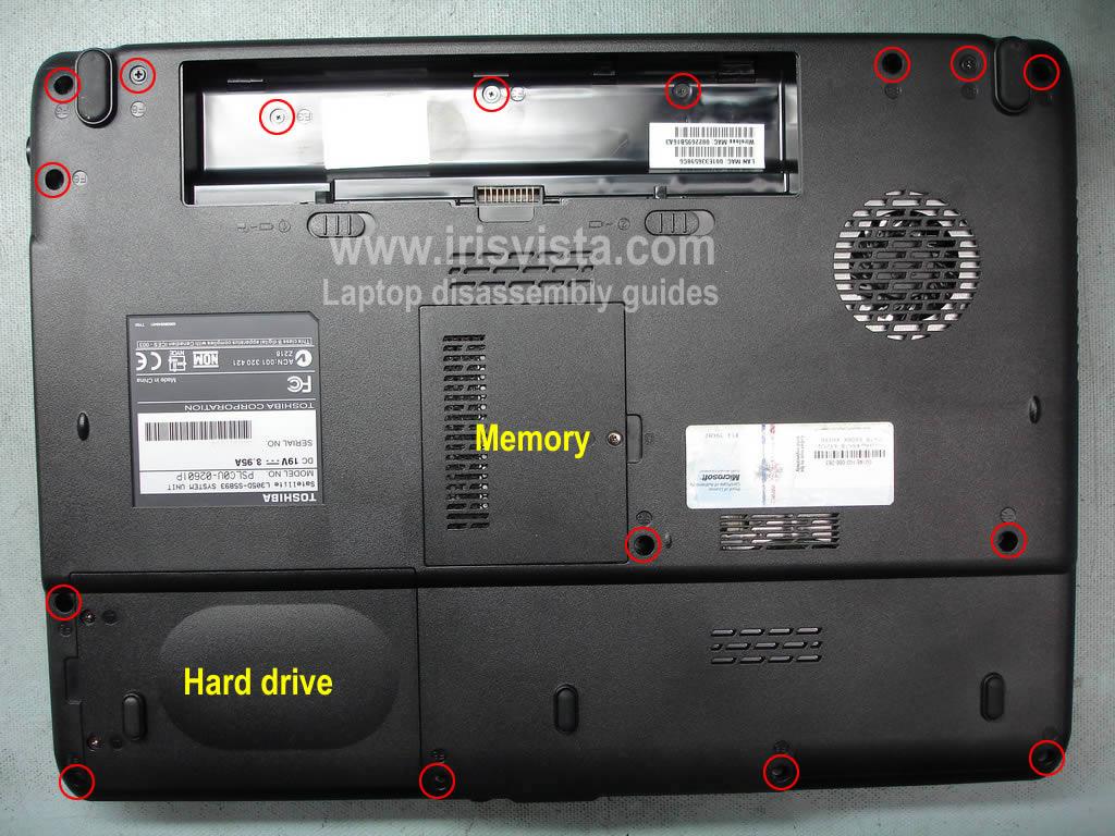 Как разобрать ноутбук Toshiba Satellite L305/L305D и Satellite L300/L300D (2)