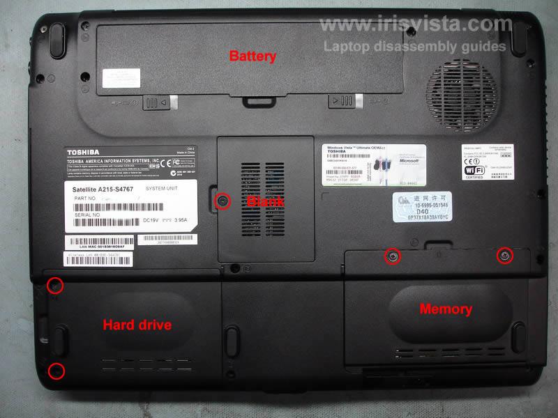 как разобрать ноутбук Toshiba Satellite A210 и Toshiba Satellite A215 и сменить экран (3)