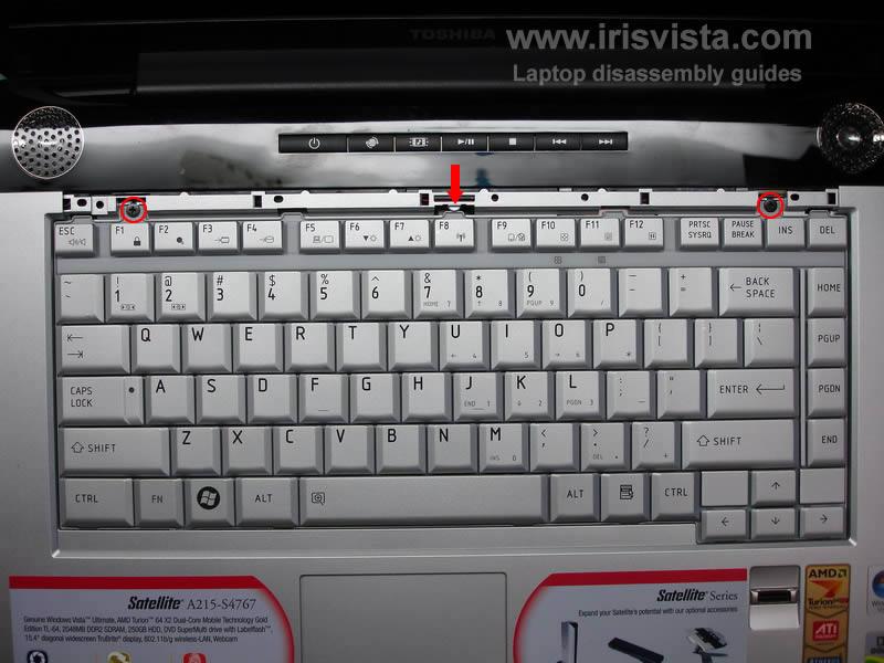 как разобрать ноутбук Toshiba Satellite A210 и Toshiba Satellite A215 и сменить экран (7)