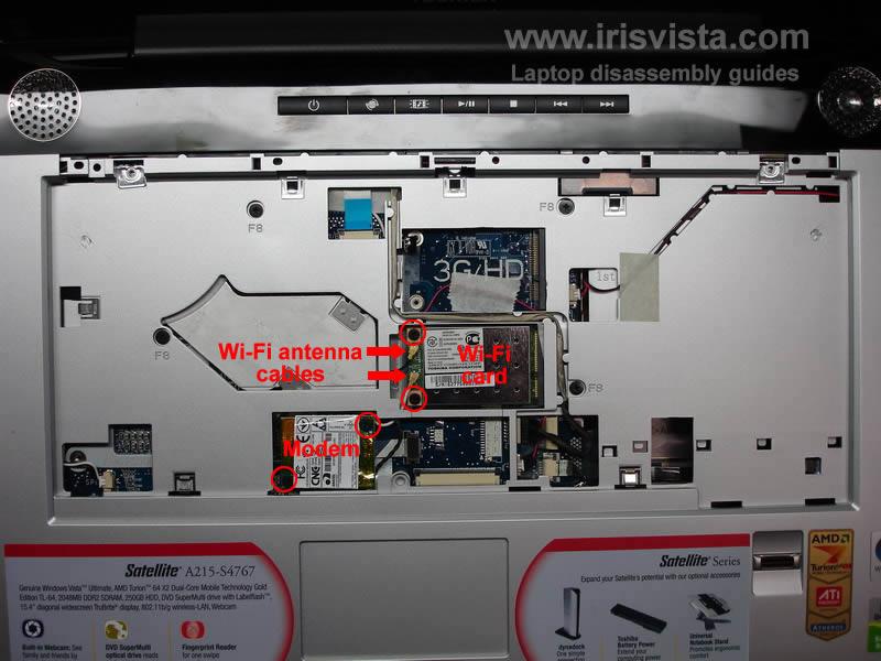 как разобрать ноутбук Toshiba Satellite A210 и Toshiba Satellite A215 и сменить экран (9)