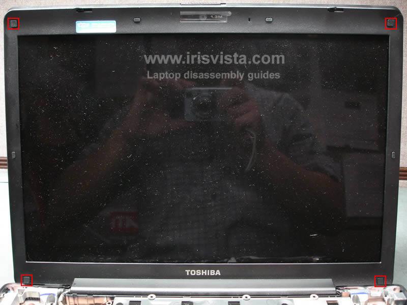 как разобрать ноутбук Toshiba Satellite A210 и Toshiba Satellite A215 и сменить экран (14)