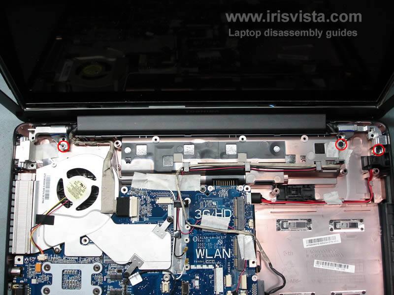 как разобрать ноутбук Toshiba Satellite A210 и Toshiba Satellite A215 и сменить экран (20)