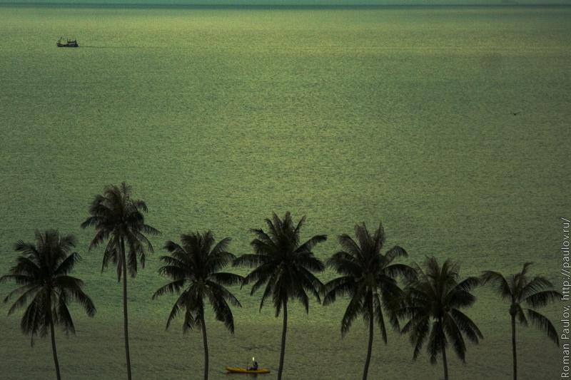 Море Самуи Таиланд каяк и корабль