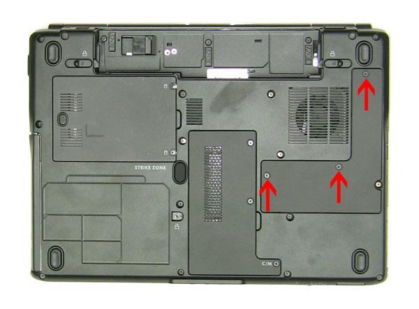 Как разобрать ноутбук Dell Inspiron 1420 / Vostro 1400: замена дверцы отсека процессора и радиатора