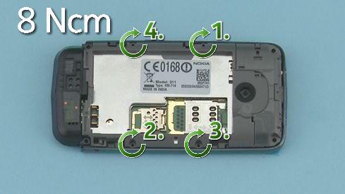 Как cобрать телефон Nokia Asha 311 / 3110 после замены деталей (4)