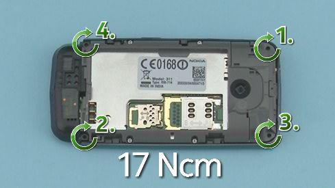 Как cобрать телефон Nokia Asha 311 / 3110 после замены деталей (5)