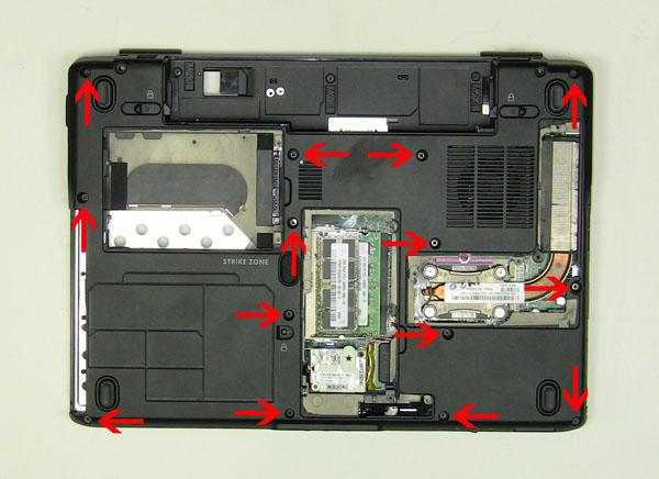 Как разобрать ноутбук Dell Inspiron 1420 / Vostro 1400: замена упора для рук с тачпадом (9)