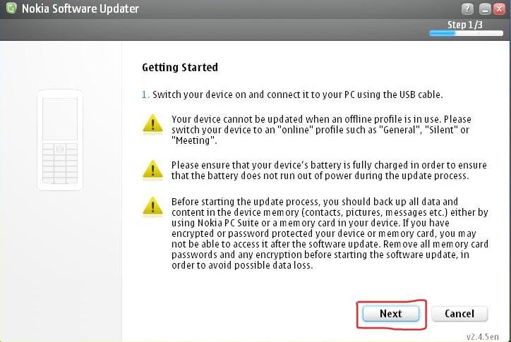 Как изменить язык в телефоне Nokia BB5 с помощью программы Nokia Software Updater (6)