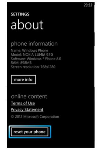 Как сделать сброс настроек телефона Nokia Lumia 920 к заводским (3)