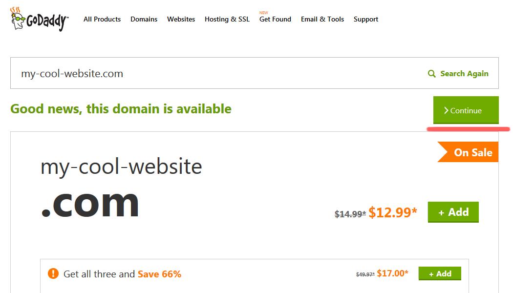 Как купить домен в зоне com у регистратора GoDaddy (8)